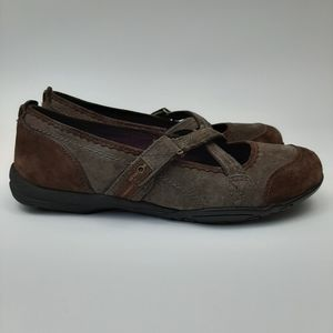 PRIVO Brown Suede Cross Strap Flats Size 7
